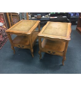 Hammary Pair of French Style End Tables w Leather Tops