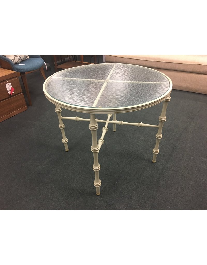 Round Glass Top Patio Table w Gray Bamboo Base