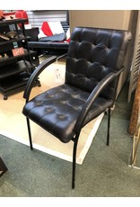 Black Leather and Metal Arm Chair
