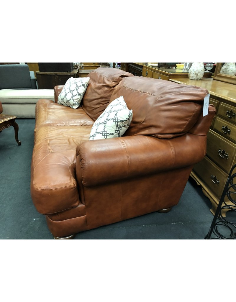 Sealy Brown Leather 2 Cushion Rolled Arm Sofa