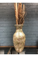 Mosaic Vase w/ Grass Decor