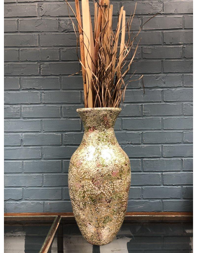 Mosaic Vase w/ Grass Decor