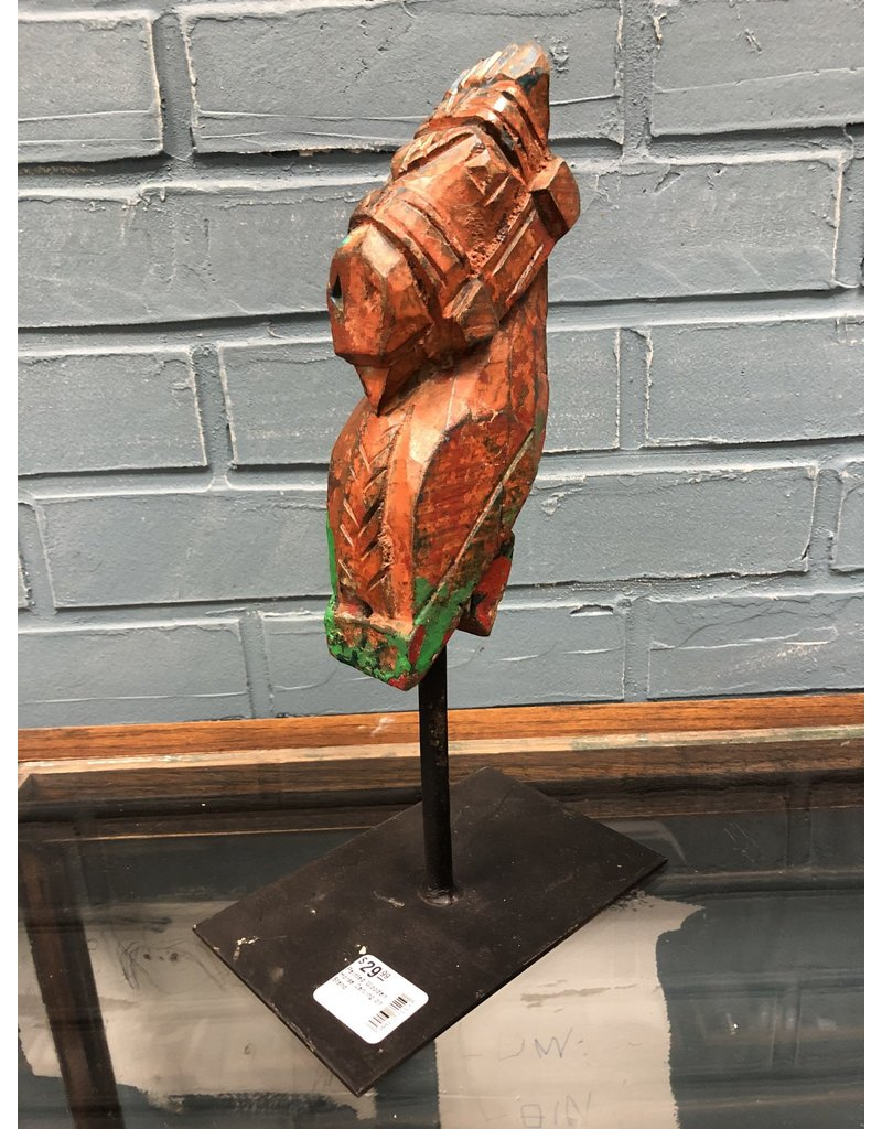 Painted Wooden Horse Carving on Stand