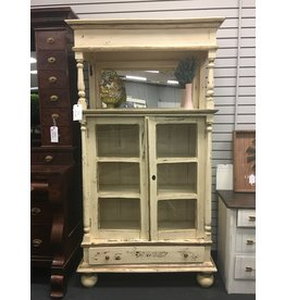 Distressed Farm Style Antique White Hutch with Door and Mirror