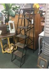 Black Industrial Step Ladder w Wooden Steps