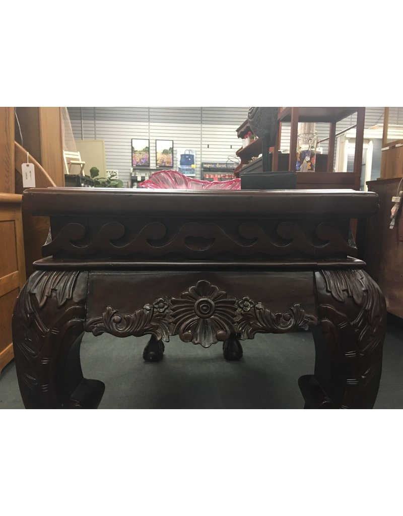 Dark Mahogany Highly Carved Sofa Table w/ Claw Feet