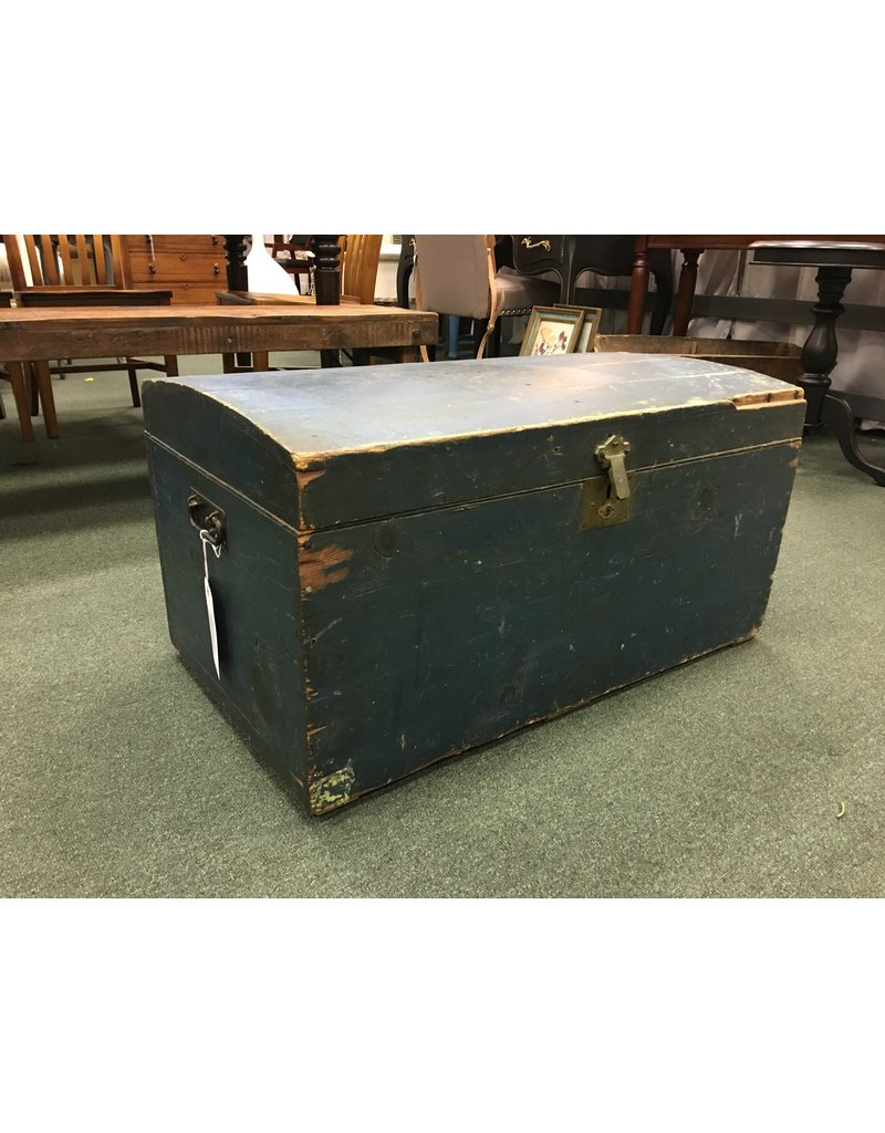 Pine Blue Trunk w/ Wrought Iron Handles