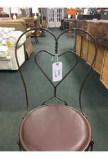 Wrough Iron Heart Shape Ice Cream Parlor Chair