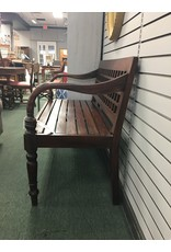Solid Wood Lattice Back Bench w/ Arms