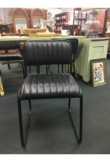 Set of 4 Black Leather and Metal Side Chairs