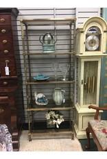 Brass Etagere w Smoke Glass Shelves