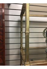 Brass Etagere w Smoke Glass Shelves