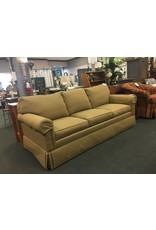 Ethan Allen Green and Gold 3 Cushion Sofa - Ethan Allen