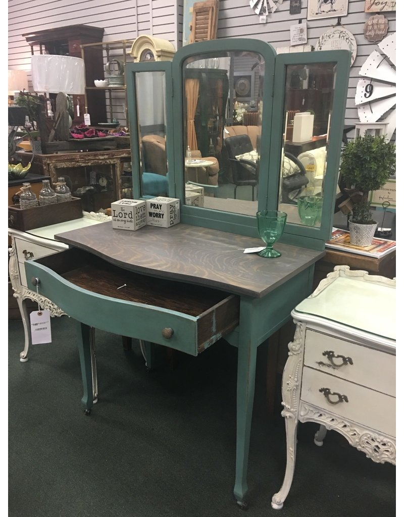 Teal and Gray Vanity w Matching Chair
