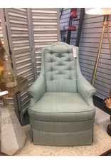 Blue Button Tufted High Back Armchair