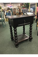 Dark Wood Turned Leg Side Table w Shelf
