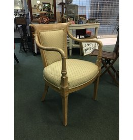 Brown Crackle Finish Armchair w Beige Upholstery