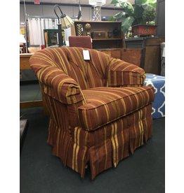 Ethan Allen Swivel Barrel Chair - Maroon/Gold
