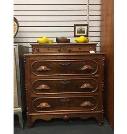 Antique Walnut 3 Drawer Dresser w Handkerchief Drawers