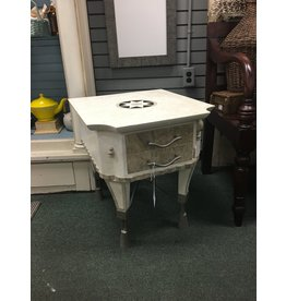White and Gray Stone Side Table w/ Star Detail