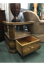 End Table w Round Glass Insert