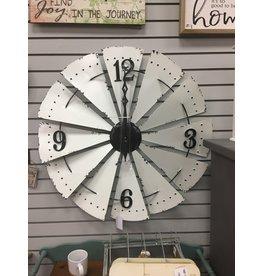 White Enamel Windmill Clock