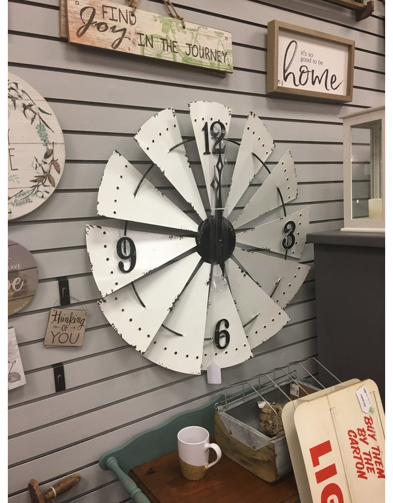 White Enamel Windmill Clock