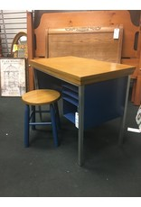 Child Size Blue Metal Desk w Stool