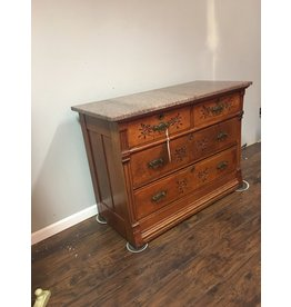 Victorian 4 Drawer Dresser w Spoon Carving and Pink Marble Top
