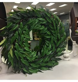 "Pure Garden Ficus Microphylla Leaf Polyester 22"" Wreath"