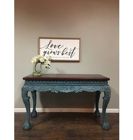 Two Tone Ornate Console Table w Ball in Claw Feet