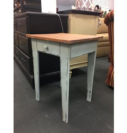 Distressed Pale Blue End Table w Stained Top