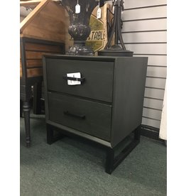 Union Rustic Gray/Black Truby 2 Drawer Nightstand