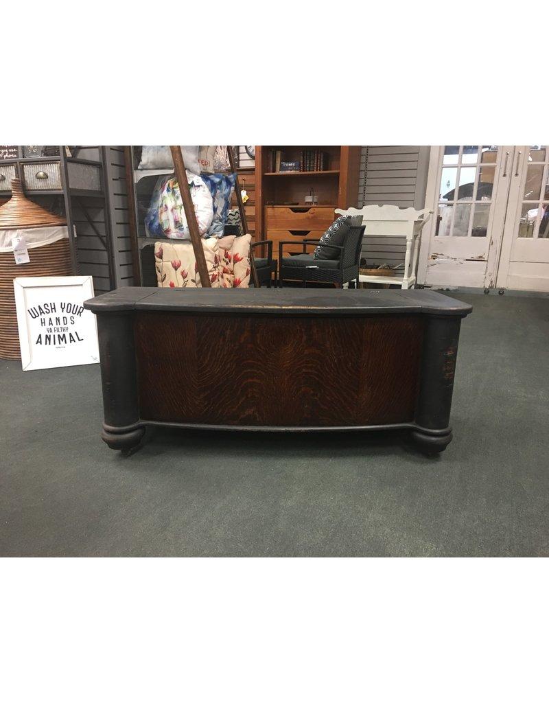 Black Painted Oak Hall Seat w/ Storage