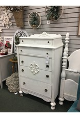 White Painted Antique 5 Drawer Chest