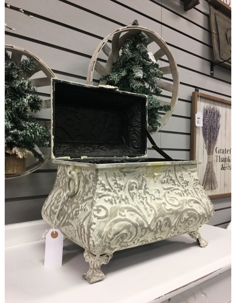 White and Gray Decorative Metal Chest