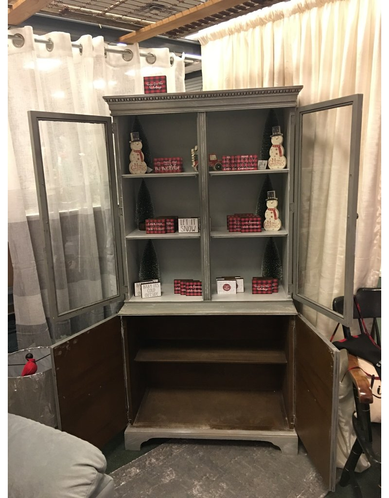 Distressed Gray China Cabinet