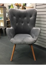Round Hill Furniture Charcoal Gray Tufted Modern Butterfly Chair