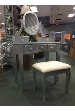 Silver Vanity w Oval Mirror and Upholstered Bench