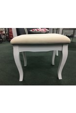 White Vanity w Oval Mirror and Upholstered Bench