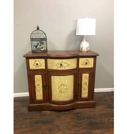Bow Front Credenza w Floral Detail