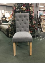 Gray Upholstered Tufted Dining Chair