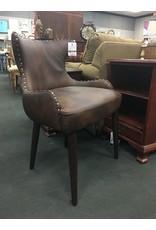 Brown Faux Leather Accent Chair w Nailhead Trim