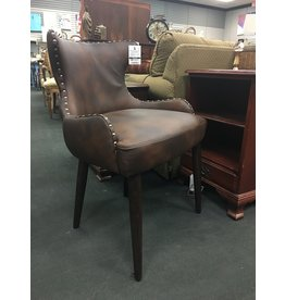 Brown Faux Leather Accent Chair w Nailhead Trim