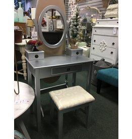 Small Silver Vanity w Stool