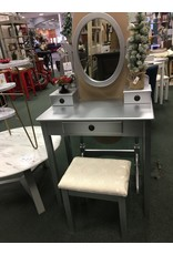 Small Silver Vanity w Stool