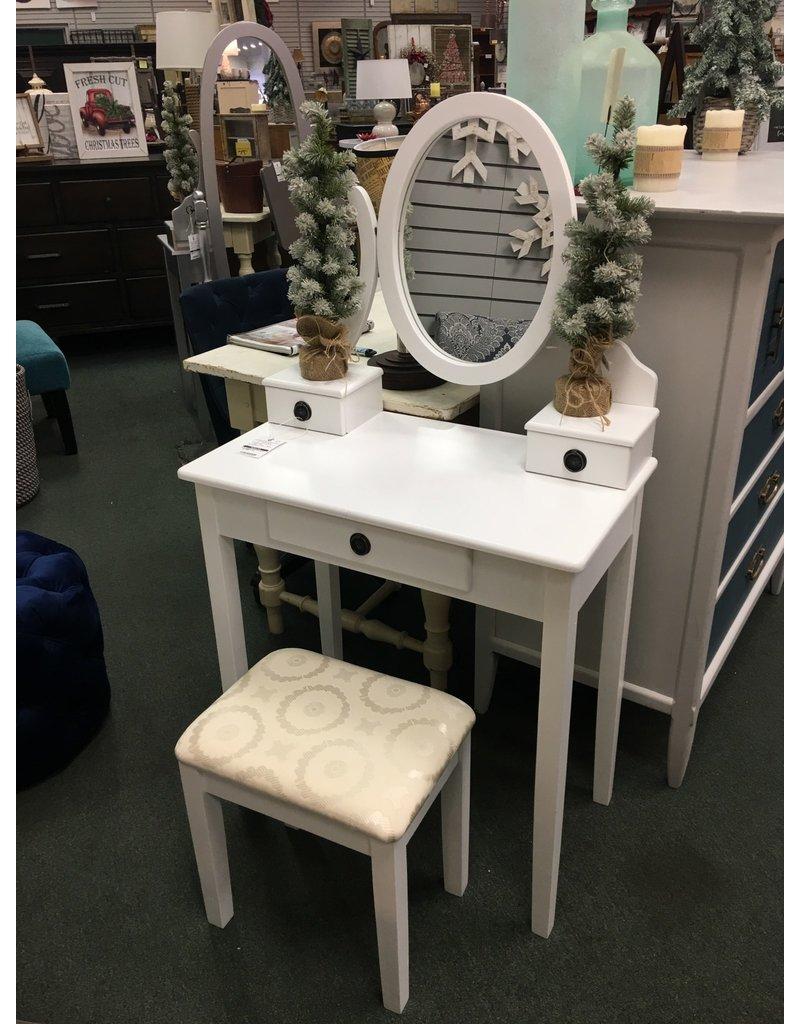 Small White Vanity w Stool
