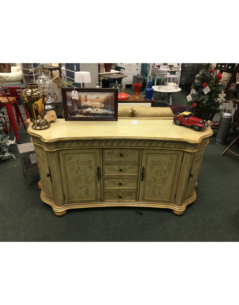 Cream Painted Credenza w Floral Detail