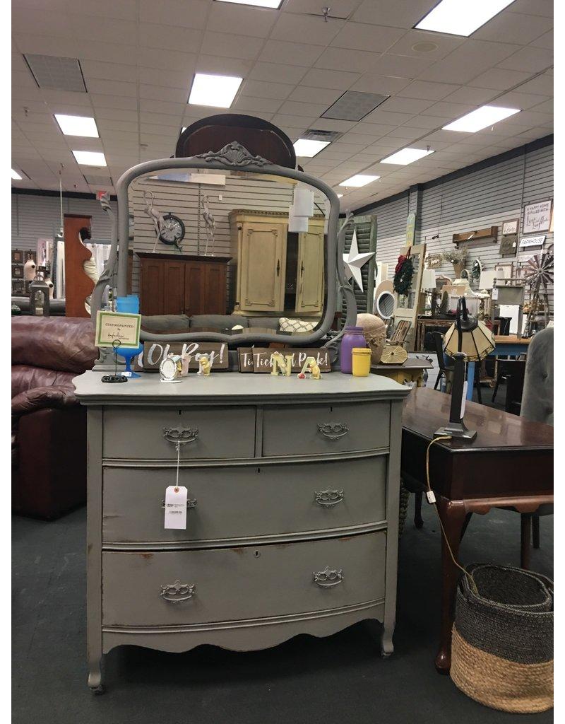 Gray Painted 4 Drawer Antique Dresser w Mirror