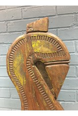 Rustic Carved Wood on Metal Stand